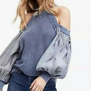 Free People Catch A Glimpse Blue Sweater XS